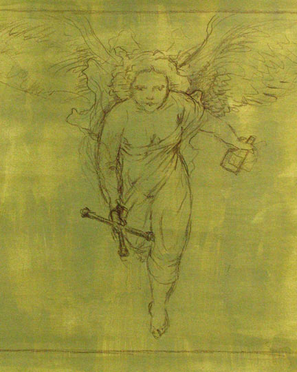 Rubenesque angel, wings outspread, approaching the viewer with a tire iron and motor oil