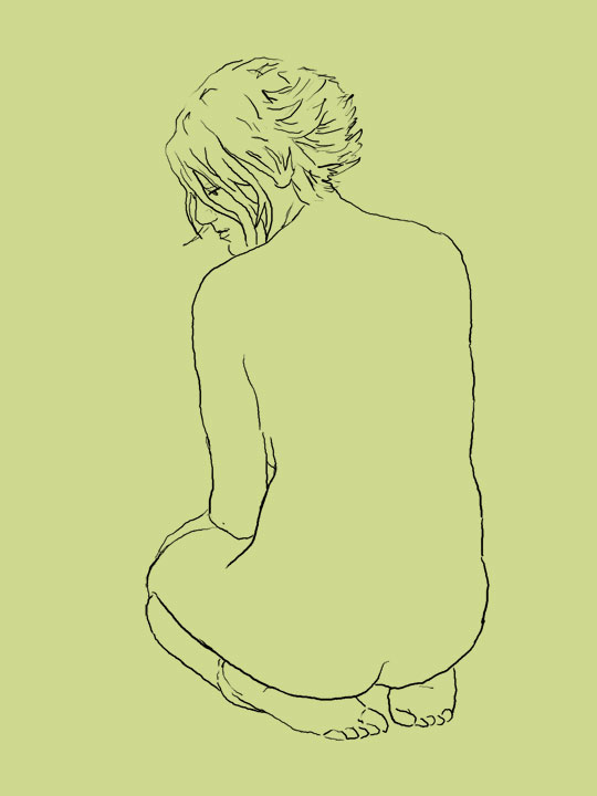 Outline drawing of nude female sitting on her feet, seen from behind