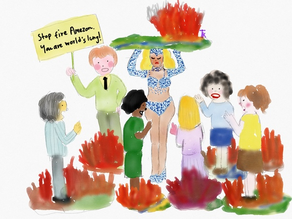 Watercolor drawing of people, representing South American countries, standing amid flames