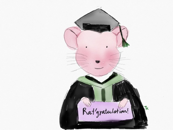 drawing of rat in graduation robe with 'rat-gratulation' sign