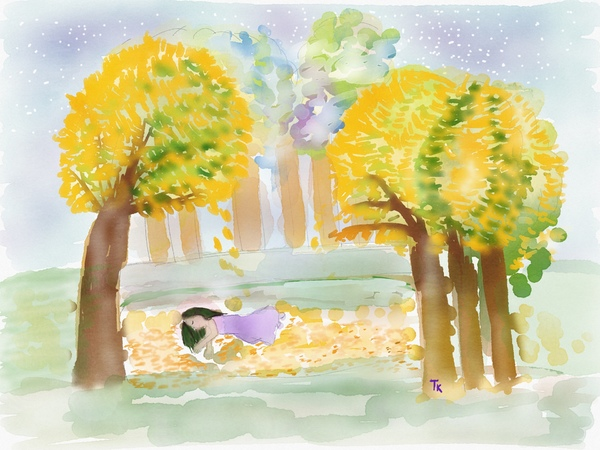 watercolor drawing of yellow leaves falling from trees onto a sleeping woman