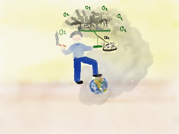 drawing of man holding a balance in which industrial emissions are outweighed by a single cow's farts